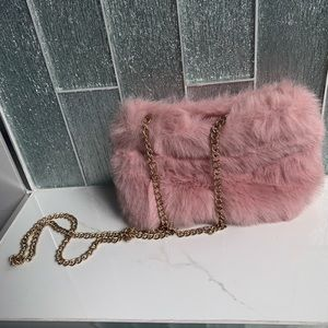 Furry Pink Side Bag with Gold Chunky Chain